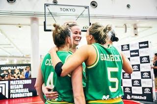 5 Maddie Garrick (AUS) - 8 Alice Kunek (AUS) - 7 Keely Froling (AUS) - 4 Bec Cole (AUS) - Game5_Final_Netherlands vs Australia