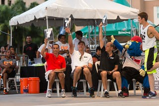 Felix Trinidad, José Ortiz, Kosta Iliev, judging dunk at the San Juan Masters 10-11 August 2013 FIBA 3x3 World Tour, San Juan, Puerto Rico