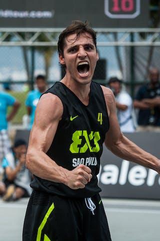 #4 Del'Arco Rodrigo Diguinho, Team Sao Paulo, celebrating the victory, FIBA 3x3 World Tour Rio de Janeiro 2014, Day 2, 28. September.