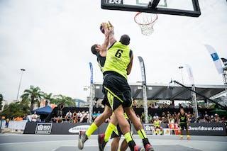 #6 Camilo Erick, Team Fortaleza, block, FIBA 3x3 World Tour Rio de Janeiro 2014, Day 2, 28. September.