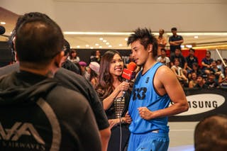 #3 Romeo Terrence Bill giving an interview, Team Manila West, 2014 World Tour Manila, 3x3, 20. July.