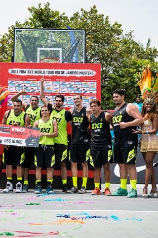 Team Sao Paulo as the winner with the Team Santos, FIBA 3x3 World Tour Rio de Janeiro 2014, Day 2, 28. September.