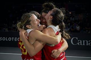 13 Sandra Ygueravide (ESP) - 11 Vega Gimeno (ESP) - 10 Aitana Cuevas (ESP) - 3 Marta Canella (ESP) - FIBA 3x3, World Tour 2021, Mtl, Can, Esplanade de la Place des Arts. Women final Spain vs Austria