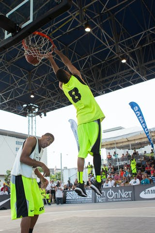 Reverse dunk at the San Juan Masters 10-11 August 2013 FIBA 3x3 World Tour, San Juan, Puerto Rico. Day 2