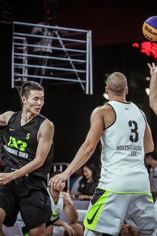 4 Marko Zdero (UAE) - 5 Liu Qi Yao (CHN) - 3 Dusan Domovic Bulut (UAE) - Novi Sad AlWahda v Shanghai SUES, 2016 WT Beijing, Pool, 16 September 2016