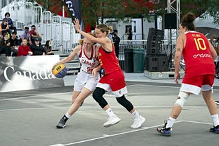 FIBA 3x3, World Tour 2021, Montréal, Canada, Esplanade de la Place des Arts. Woman CANADA VS SPAIN