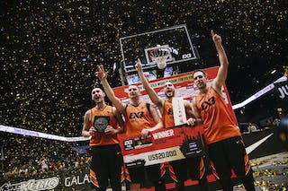 Team Novi Sad celebrating the victory, winner of the FIBA 3x3 World Tour Tokyo Final 2014, 11-12 october