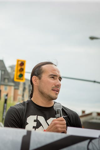 Michael Linklater speaks during the opening press conference in Saskatoon, Canada on July 20, 2018.