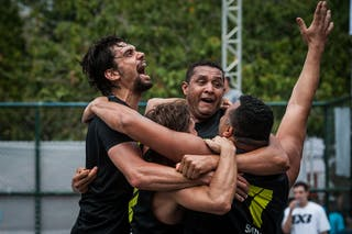 Team Sao Paulo celebrating a victory, FIBA 3x3 World Tour Rio de Janeiro 2014, Day 2, 28. September.