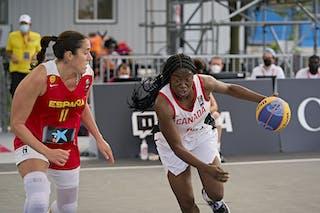 11 Rashida Timbilla (CAN) - FIBA 3x3, World Tour 2021, Mtl, Can, Esplanade Place des Arts. WS Semi-Final 2- CANADA vs. Spain
