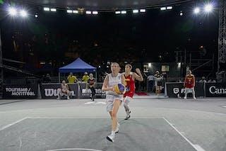 1 Sarah Sagerer (AUT) - FIBA 3x3, World Tour 2021, Mtl, Can, Esplanade de la Place des Arts. Women final Spain vs Austria