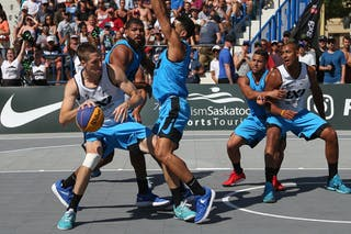 4 Tjader Fernandez (PUR) - 6 Nolan Brudehl (CAN) - 5 Michael Lieffers (CAN) - Saskatoon vs Gurabo in the FIBA 3x3 World Tour Saskatoon 2017 semi final