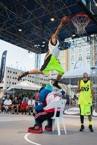 Dunk over a mascot at the San Juan Masters 10-11 August 2013 FIBA 3x3 World Tour, San Juan, Puerto Rico. Day 2