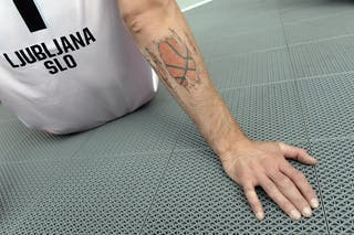 Player tattoo, Team Ljubljana, FIBA 3x3 World Tour Lausanne 2014, 29-30 August.