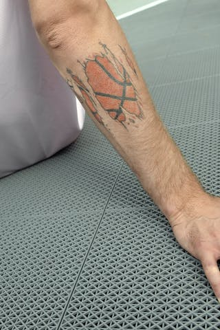 Player tattoo, Team Ljubljana, FIBA 3x3 World Tour Lausanne 2014, 29-30 August.