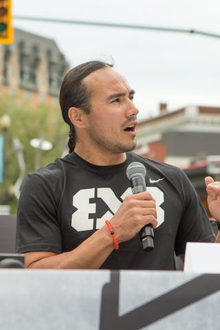 Michael Linklater speaks during an opening press conference in Saskatoon, Canada on July 20, 2018