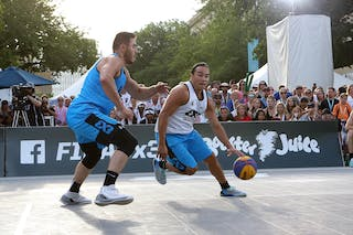 5 Vadim Halimov (CAN) - 4 Michael Linklater (CAN) - Saskatoon vs Hamilton at FIBA 3x3 Saskatoon 2017