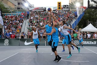 3 Steve Sir (CAN) - 6 Igor Lebov (CAN) - 6 Nolan Brudehl (CAN) - Saskatoon vs Hamilton at FIBA 3x3 Saskatoon 2017
