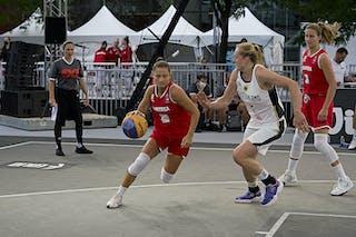 FIBA 3x3, World Tour 2021, Montréal, Canada, Esplanade Place des Arts. WOMEN GERMANY VS AUSTRIA