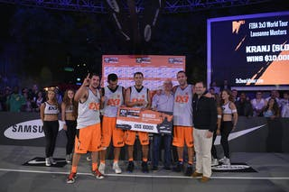 Patrick Baumann with Team Kranj (Slovenia)  winners 2013 FIBA 3x3 World Tour Masters in Lausanne