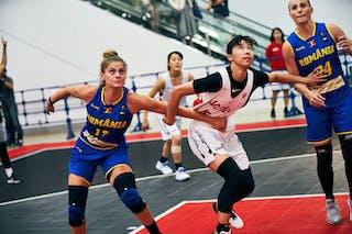 24 Ancuţa Stoenescu (ROU) - 17 Alexandra Uiuiu (ROU) - 16 Todo Nanako (JPN) - Game6_Pool A_Japan U23 vs Romania