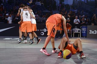 Team Split celebrating victory, FIBA 3x3 World Tour Lausanne 2014, Day 1, 29. August.