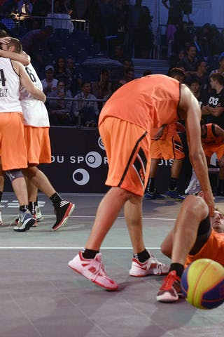 Team Split celebrating victory, FIBA 3x3 World Tour Lausanne 2014, Day 1, 29. August.