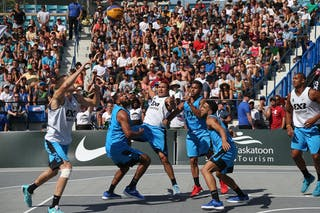 4 Tjader Fernandez (PUR) - 6 Nolan Brudehl (CAN) - 5 Michael Lieffers (CAN) - 4 Michael Linklater (CAN) - Saskatoon vs Gurabo in the FIBA 3x3 World Tour Saskatoon 2017 semi final