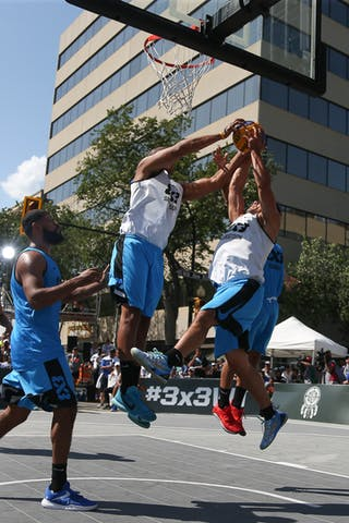 4 Michael Linklater (CAN) - 6 Nolan Brudehl (CAN) - Saskatoon vs Gurabo in the FIBA 3x3 World Tour Saskatoon 2017 semi final