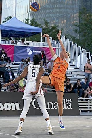 FIBA 3x3, World Tour 2021, Montréal, Canada, Esplanade de la Place des Arts. Women USA VS NETHERLAND