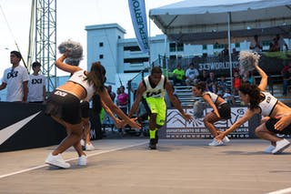 Player entry with cheerleaders at the San Juan Masters 10-11 August 2013 FIBA 3x3 World Tour, San Juan, Puerto Rico. Day 2