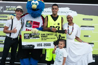 Dunk contest winner at the San Juan Masters 10-11 August 2013 FIBA 3x3 World Tour, San Juan, Puerto Rico. Day 2